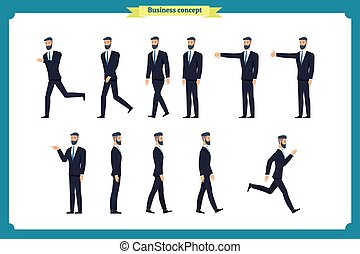 Collection set of Walking and running businessman. Walk, run, active,dislike, like. Variety of movements. Flat Character man cartoon style,