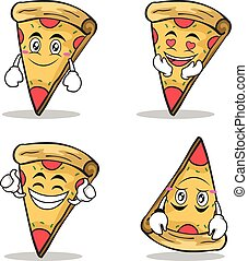 Collection set pizza character cartoon