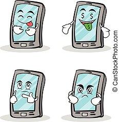 Collection set smartphone cartoon character