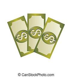 collection, signe dollar, billet banque, ensemble