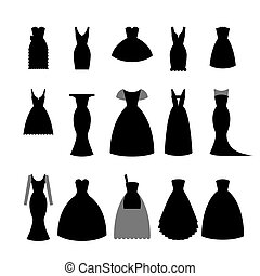Collection silhouettes of black dresses on white background- stock vector illustration. Elegant short and long dress for woman, fashion lady design