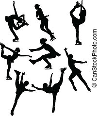 Collection skating silhouette - vector