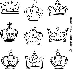 Collection sketch crown doodle set