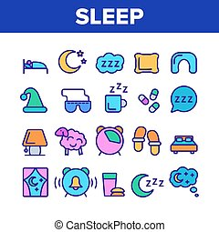 Collection Sleep Time Elements Vector Icons Set