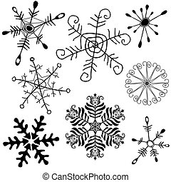 Collection new handwork of snowflakes on white (vector)