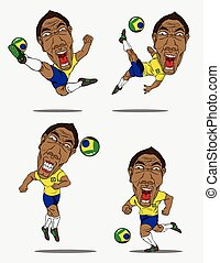 Collection soccer players. Vector