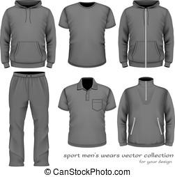 collection., sportende, slijtage, mannen
