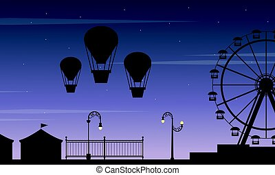 Collection stock amusement park scenery silhouette