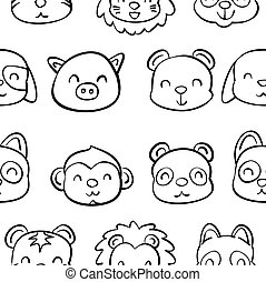 Collection stock of animal doodle hand draw