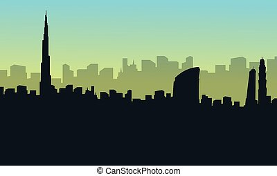 Collection stock of dubai city scenery silhouettes