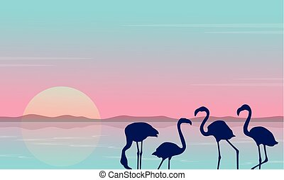 Collection stock of flamingo silhouette scenery