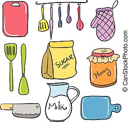 Collection stock of kitchen accessories doodles