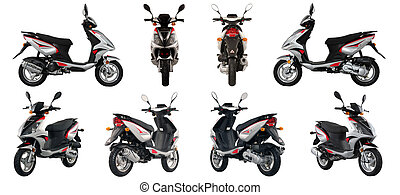 Collection of photos of scooters and motorcycles on a white...