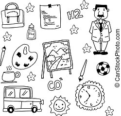 Collection stock school doodles