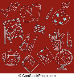 Collection stock school doodles vector