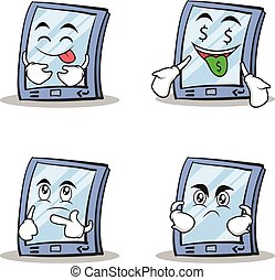 Collection stock tablet character cartoon style of set