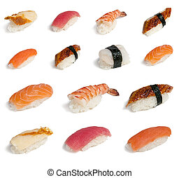 Collection sushi - Set of different sushi isolated on white