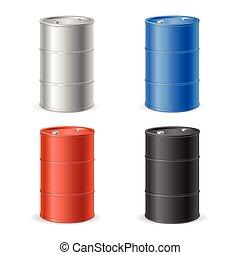 collection., tønde, vektor, tromme, olie