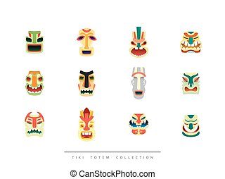 Collection Tiki Totem in flat style vector illustration