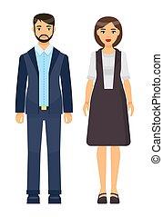 collection, tissu, homme affaires, ouvriers, bureau, ensemble, dessin animé, porter, icônes, femme affaires