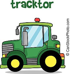 Collection transport of green tractor