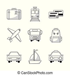 collection travel world transport equipment outline