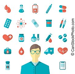 Collection trendy flat medical icons isolated on white backgroun