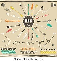 collection., tribal, éléments
