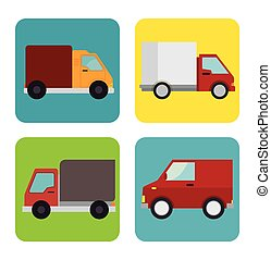 collection trucks delivery icons design