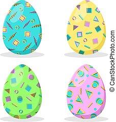 collection., uova, isolato, style., decorazione, fondo., vector., bianco, memphis, geometrico, pasqua
