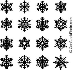 collection., vecteur, flocons neige, icône