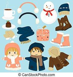 collection, vecteur, hiver, éléments