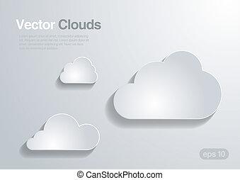 collection., vecteur, nuages, arrière-plan.