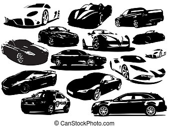 collection, vecteur, -, voitures
