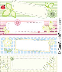 Set - four vector banners with patchwork