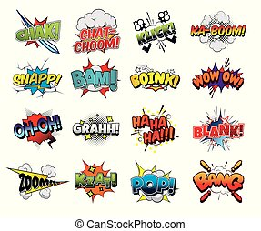 Collection vector comic sound effects pop art style