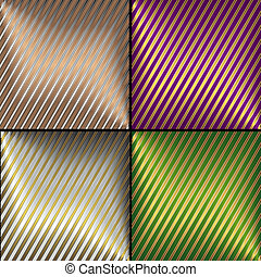 Collection golden, silvery, lilas and green vector diagonal striped backgrounds