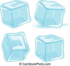 collection., vector, hielo, ilustración, cubos
