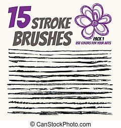 Collection vector pen brushes, Grunge elements with paint style. Handdraw strokes for design.