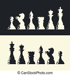 collection., vektor, chess stykke