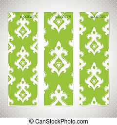 Collection vertical banners in the style of Baroque . Modern Vector Illustration