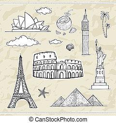 collection., viaggiare, etichette, turismo