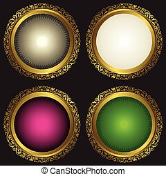 Collection vintage round frames with rays