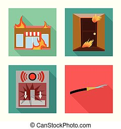 collection, web., secours, vecteur, icon., symbole, brûler, stockage, pompiers, illustration
