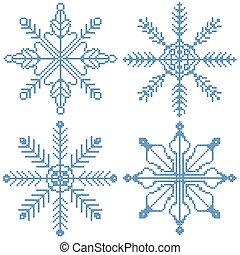 4 cross stitch snowflakes