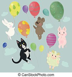Collection with cute animals with balloons vector image