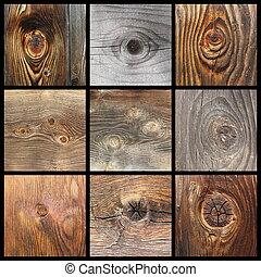 collection with details of wood knots, wooden planks