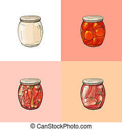 Collection with different glass jars with home made vegetables. Hand drawn objects