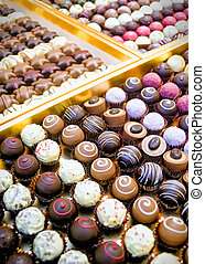 Collection with different Pralines in a row
