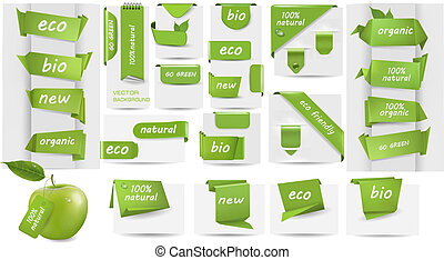 Collection with Eco tags and labels